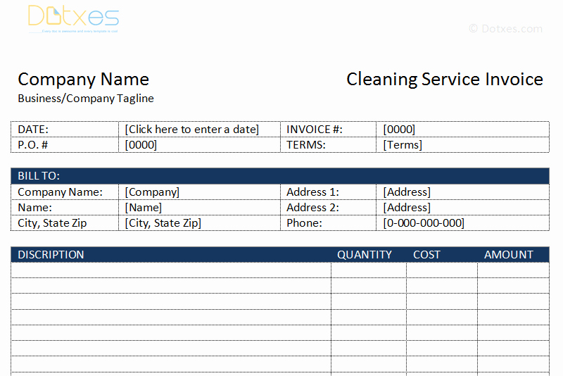 House Cleaning Invoice Template Unique Cleaning Service Invoice Template Dotxes