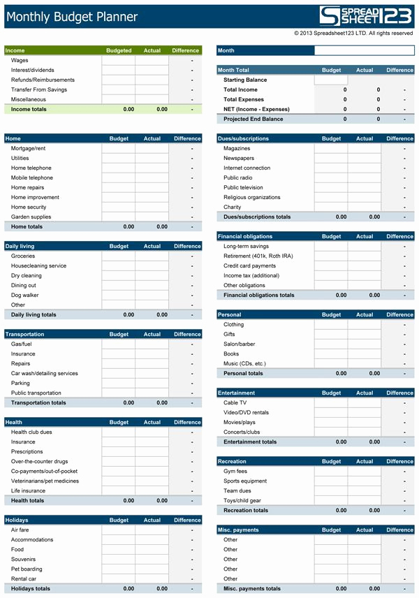 Household Monthly Budget Template Awesome Download A Free Monthly Bud Planner that Helps In