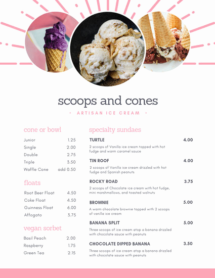 Ice Cream Menu Template Beautiful Customize 208 Ice Cream Menu Templates Online Canva
