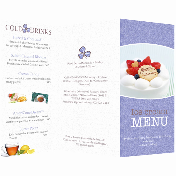 Ice Cream Menu Template Beautiful Menu Templates & Samples