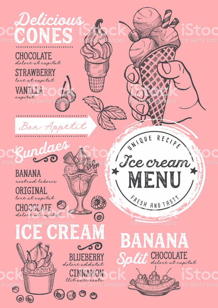Ice Cream Menu Template Best Of Ice Cream Menu Restaurant Dessert Food Template Stock
