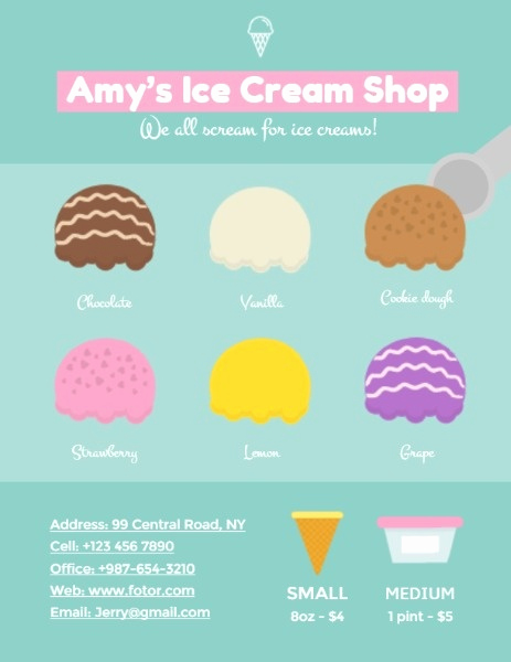 Ice Cream Menu Template Elegant Line Ice Cream Shop Menu Template