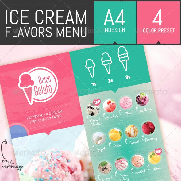 Ice Cream Menu Template New Ice Cream Menu Graphics Designs & Templates From Graphicriver