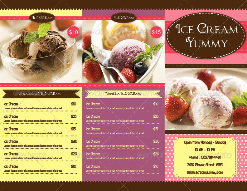 Ice Cream Menu Template New Trifold Ice Cream Menu Template by Avindaputri