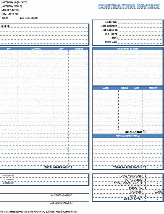Independent Contractor Invoice Template Excel Unique Contractor Invoice Template Excel