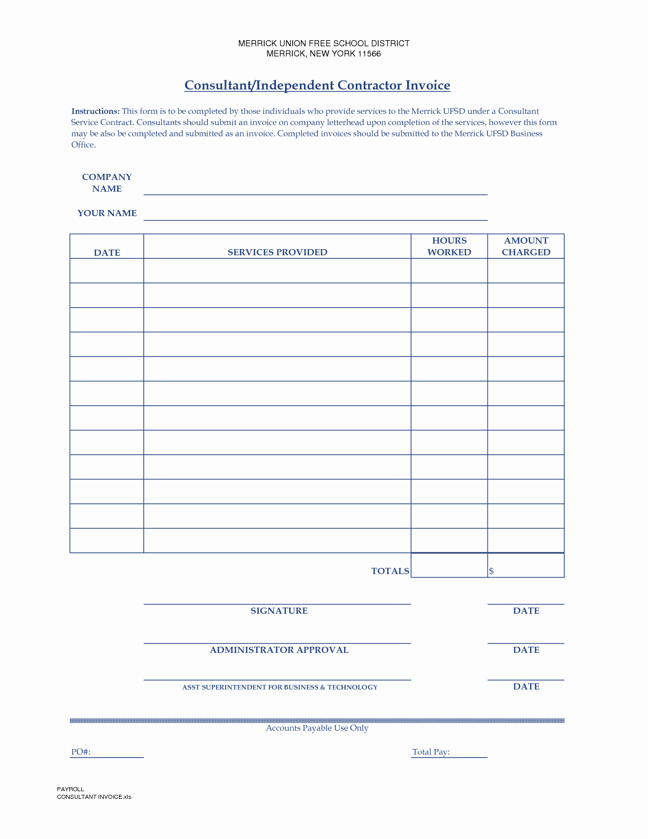 Independent Contractor Invoice Template Free New Independent Contractor Invoice Template