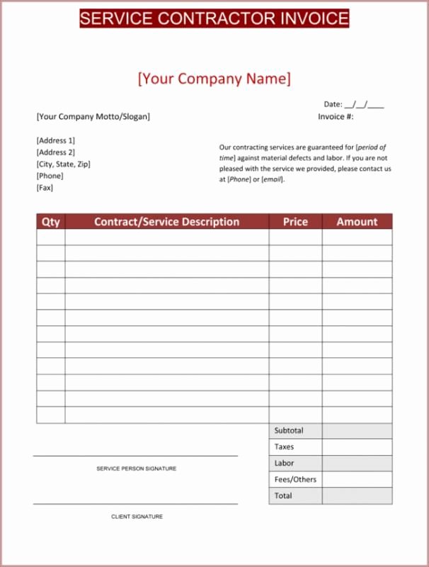 Independent Contractor Invoice Template Free Unique Contractor Invoice Template