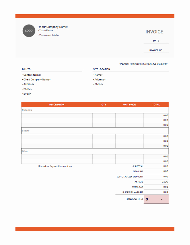 Independent Contractor Invoice Template Pdf Lovely Contractor Invoice Templates Free Download