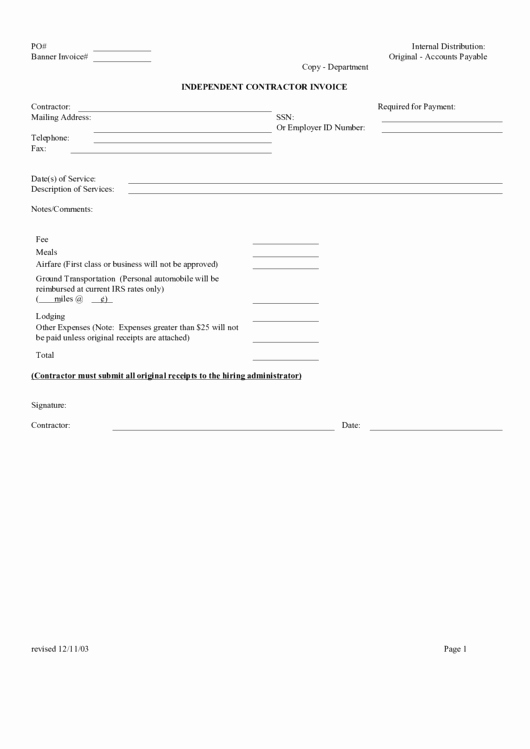 Independent Contractor Invoice Template Pdf New top Independent Contractor Invoice Templates Free to