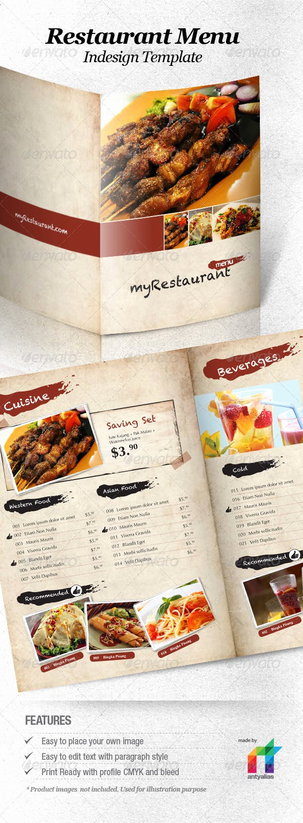Indesign Menu Template Free Awesome Restaurant Menu Indesign Template by Antyalias