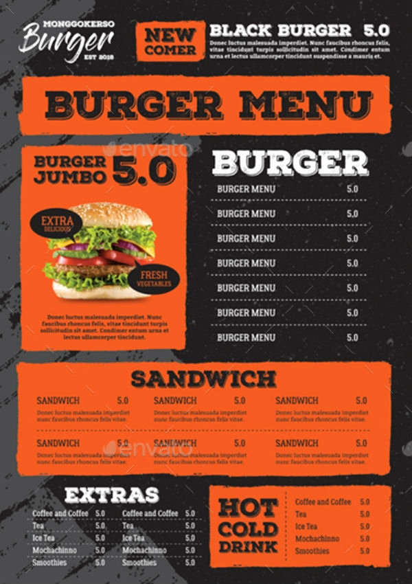 Indesign Menu Template Free Elegant 9 Burger Menu Templates Illustrator Shop Ms Word