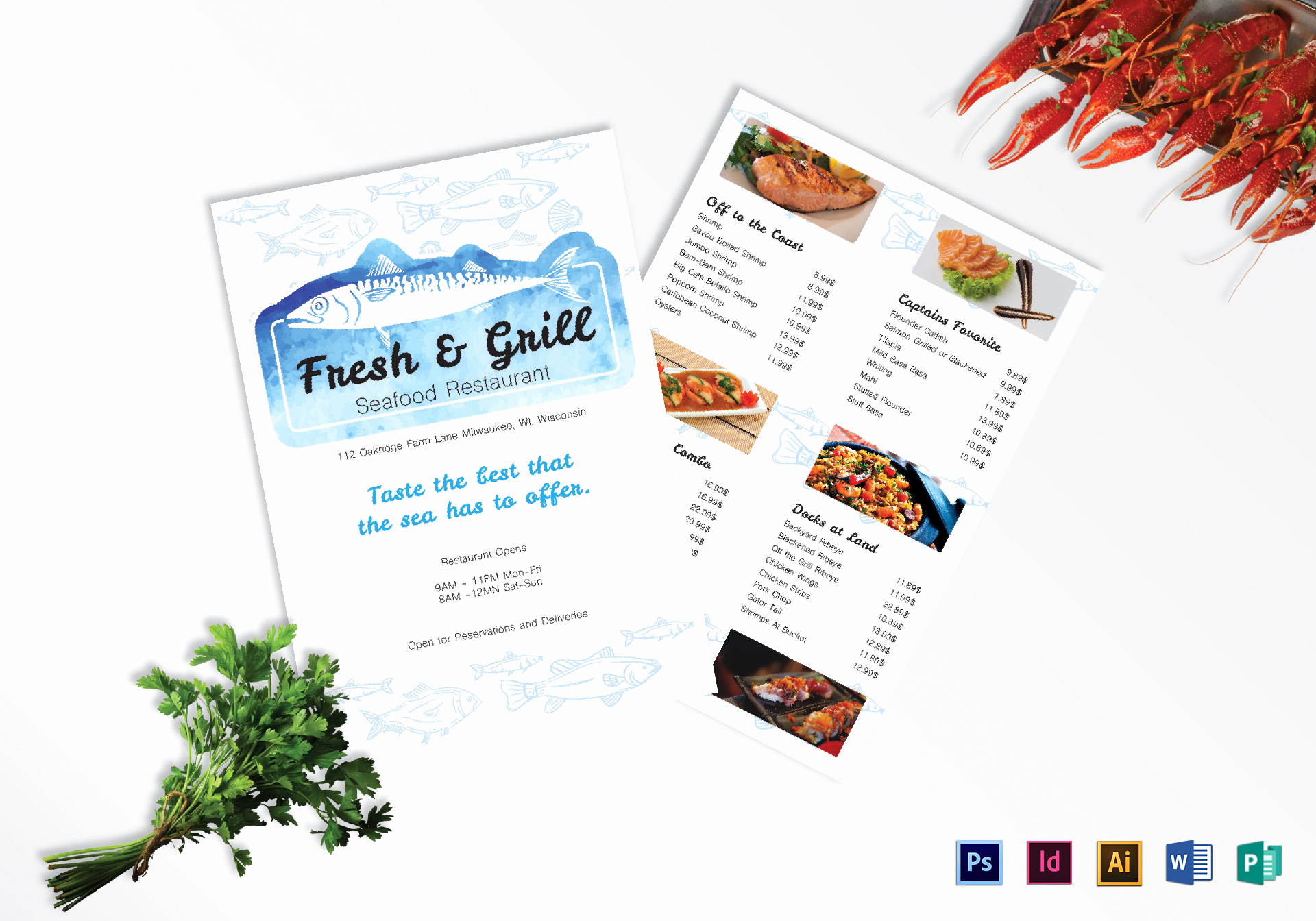Indesign Menu Template Free Elegant Seafood Menu Design Template In Psd Word Publisher