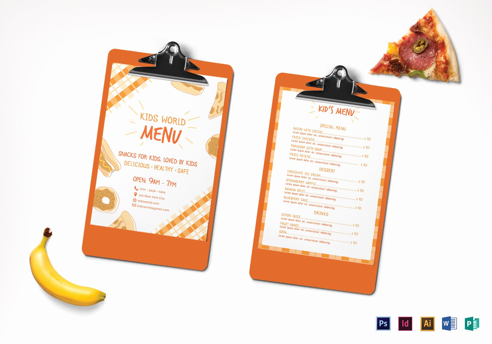 Indesign Menu Template Free Inspirational Kids Menu Design Template In Psd Word Publisher