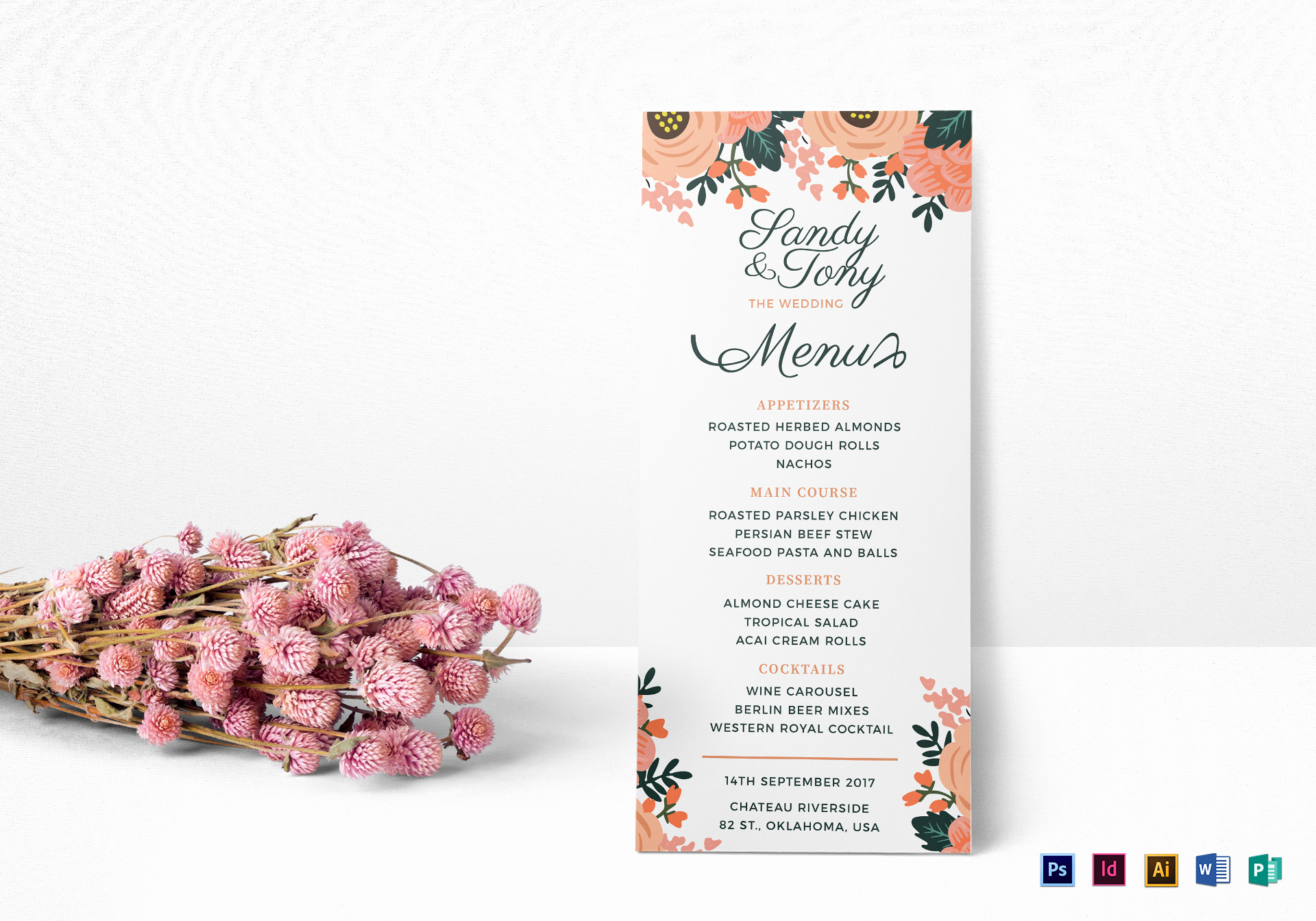 Indesign Menu Template Free Inspirational Wedding Menu Design Template In Psd Word Publisher