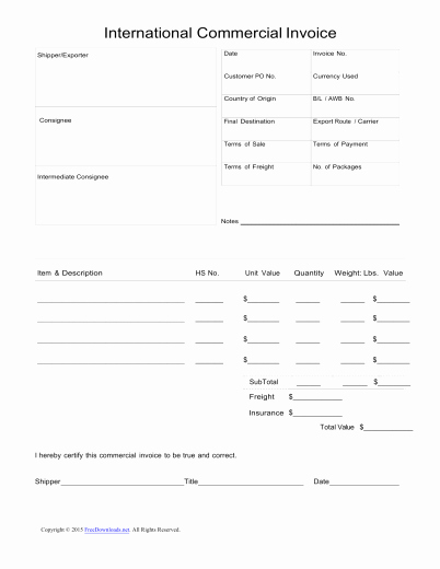 International Commercial Invoice Template Word Beautiful Download Standard Blank Mercial Invoice Template