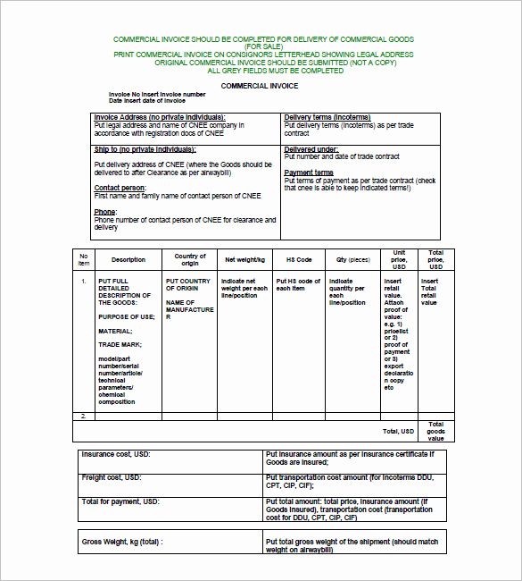 International Commercial Invoice Template Word Best Of Mercial Invoice Template