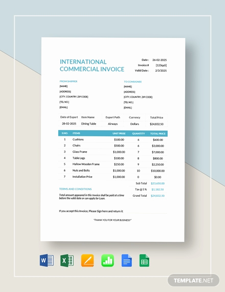 International Commercial Invoice Template Word New 38 Mercial Invoice Templates Word Excel Pdf Ai