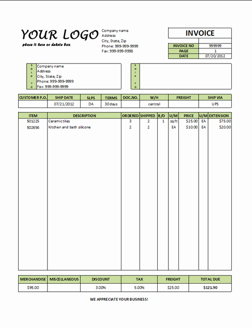 International Commercial Invoice Template Word Unique Mercial Invoice Template