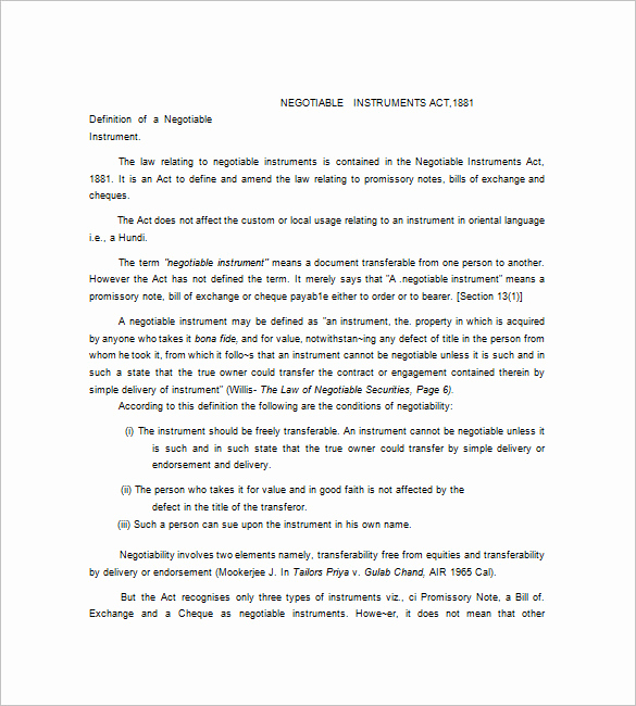 International Promissory Note Template Best Of Negotiable Promissory Note – 8 Free Word Excel Pdf