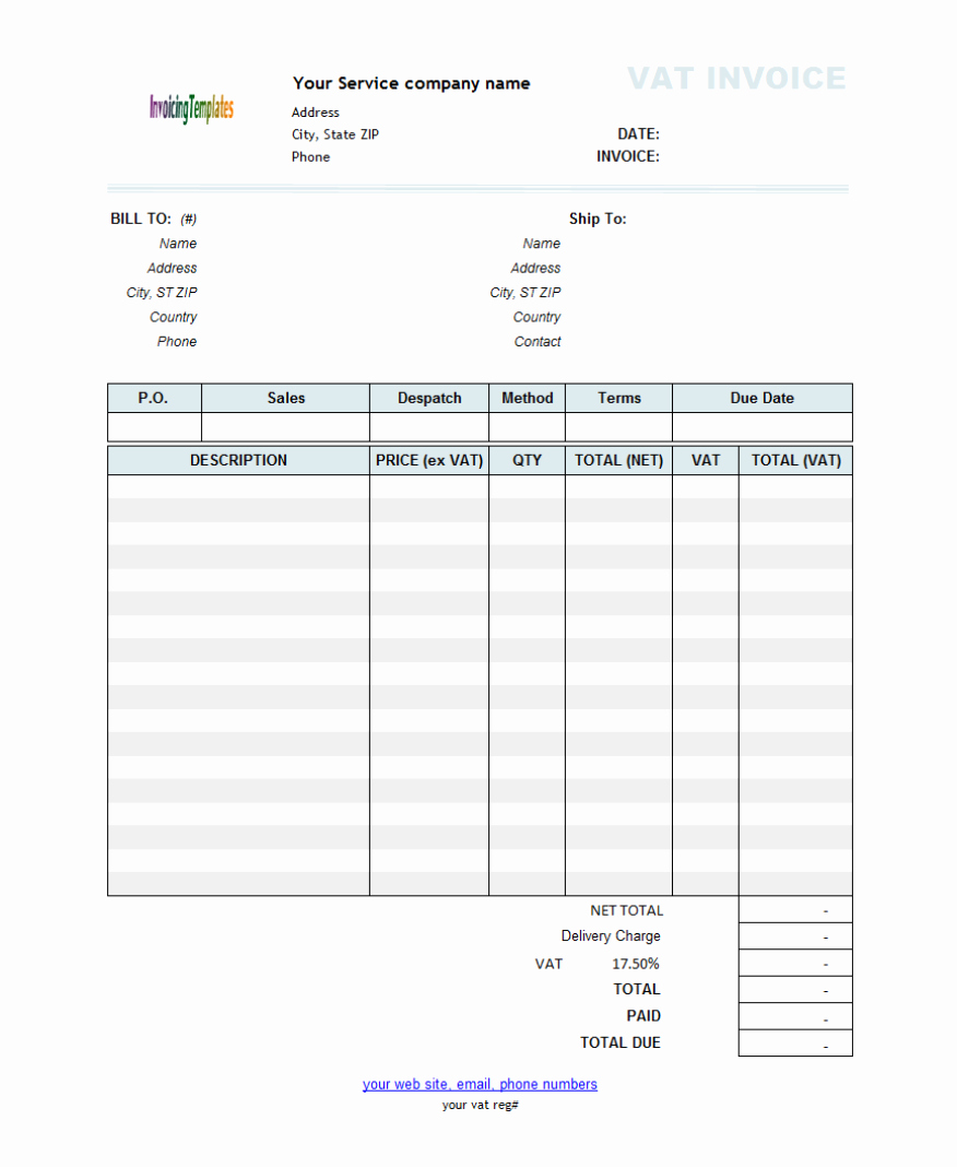 Invoice for Services Rendered Template Awesome Free Template for Invoice for Services Rendered 3