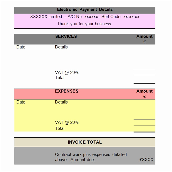 Invoice for Services Rendered Template Fresh Free 11 Ms Word Invoice Samples In Ms Word
