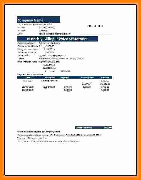 Invoice for Services Rendered Template Inspirational 5 Sample Of Billing Statement for Services