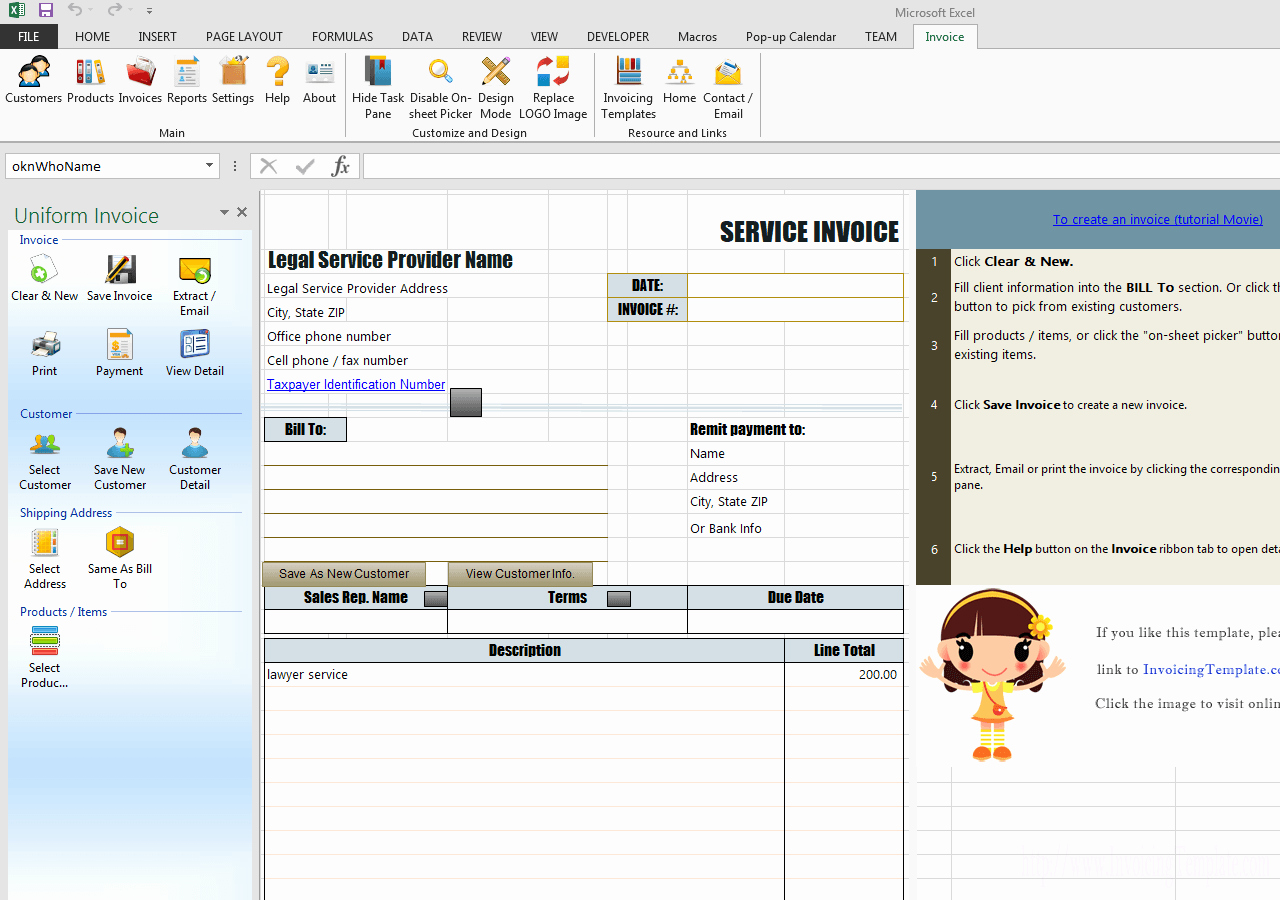 Invoice for Services Rendered Template Lovely Sample Legal Invoice In Excel for Services Rendered