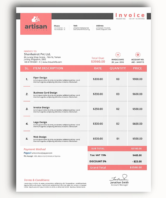 Invoice Template for Google Docs Elegant 15 Free Google Docs Invoice Templates