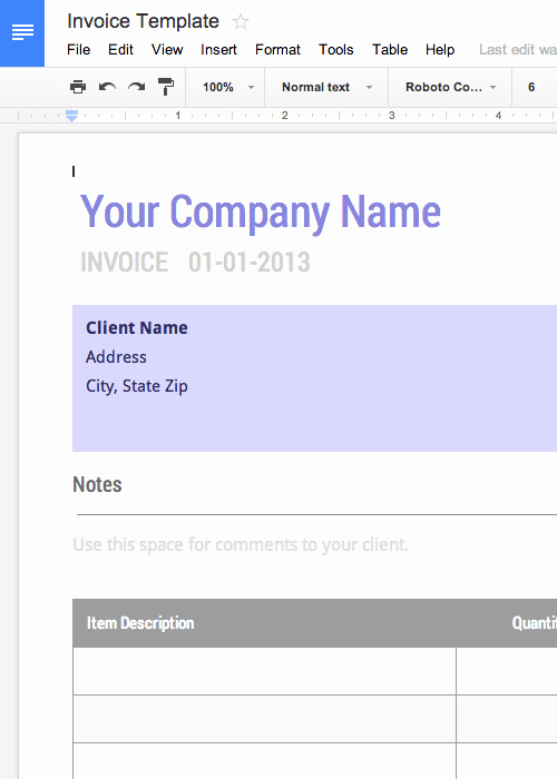 Invoice Template for Google Docs Lovely Blank Invoice Template Free for Google Docs