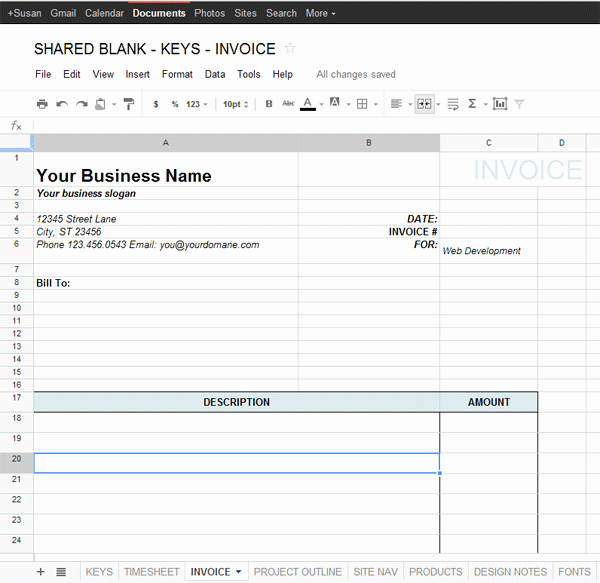 Invoice Template for Google Docs New Google Docs Template for Freelance – Data & Project