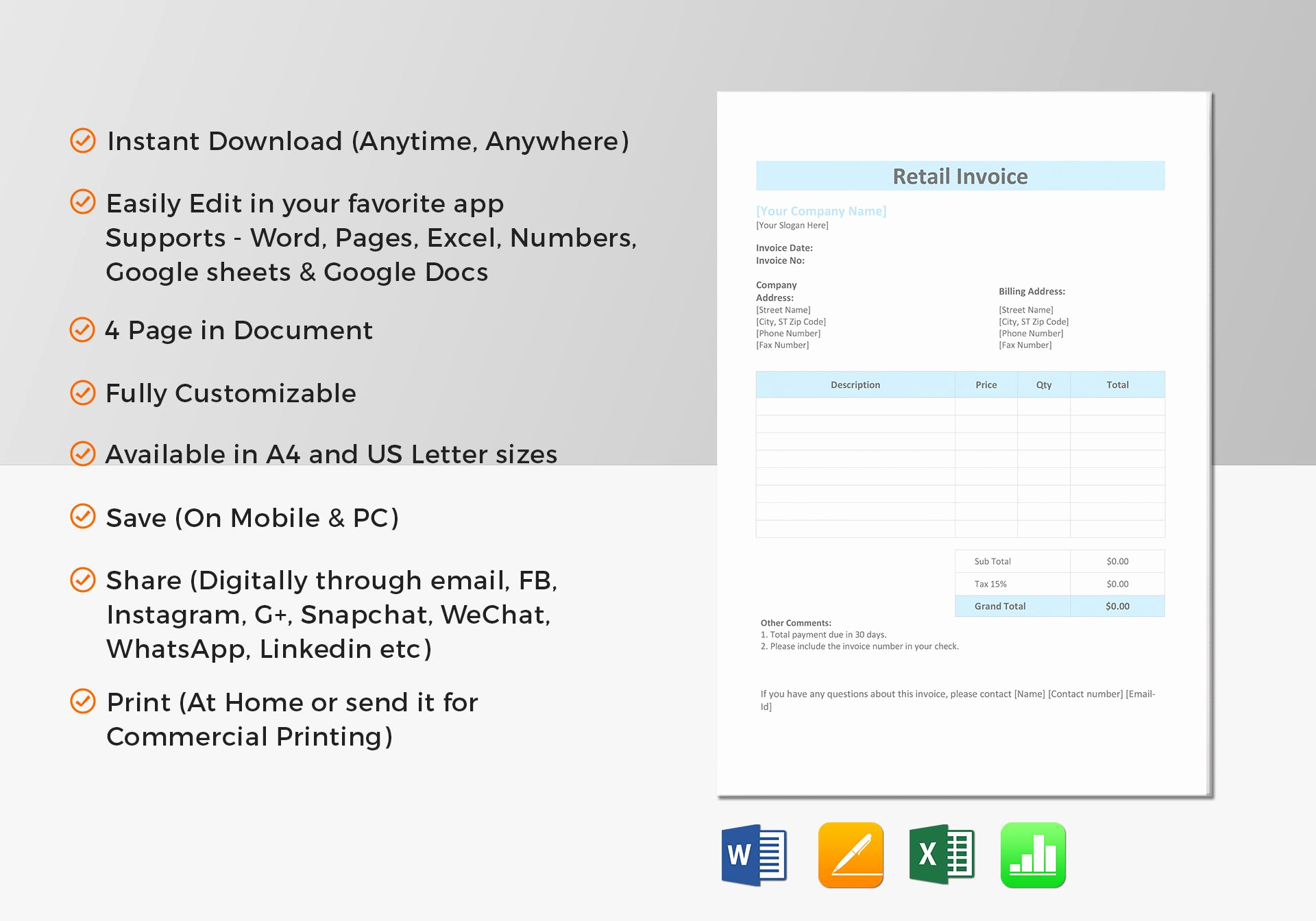 Invoice Template for Mac Inspirational Retail Invoice Template In Word Excel Apple Pages Numbers