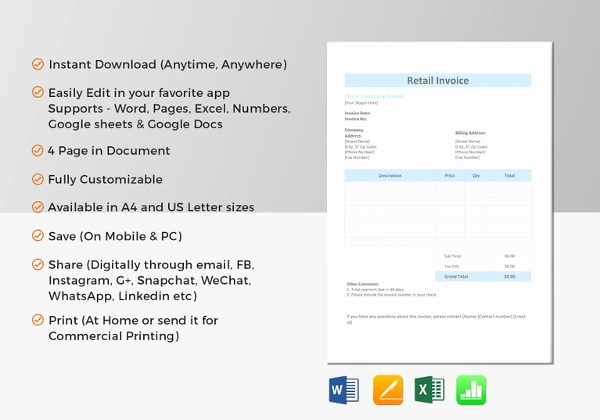 Invoice Template for Mac Luxury 19 Sales Invoice Templates Free Word Excel Pdf