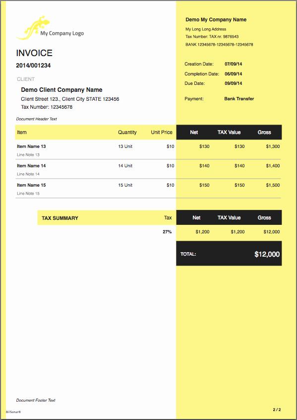 Invoice Template for Mac New Billsonar Invoice