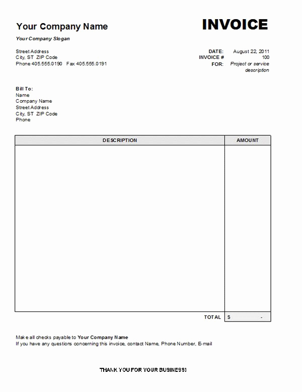Invoice Template for Word New Professional Services Invoice Template Free