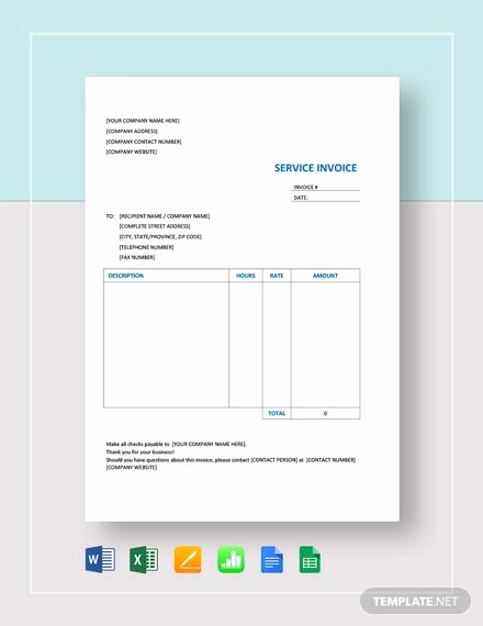 Invoice Template Google Sheets Lovely 12 Service Invoice Templates In Free Samples Examples