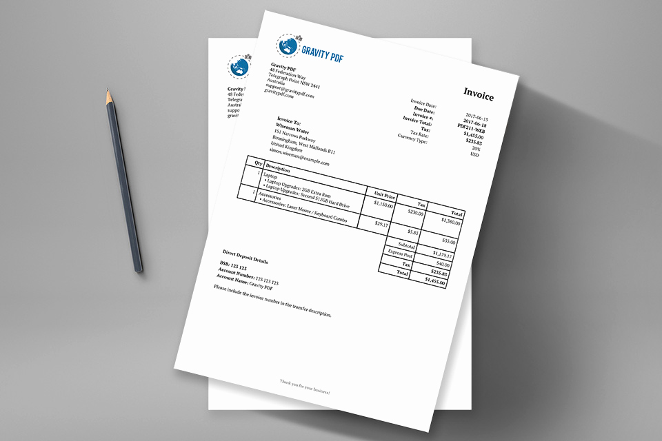 Invoice Template with Logo Fresh Invoice Classic – A Gravity forms Invoice