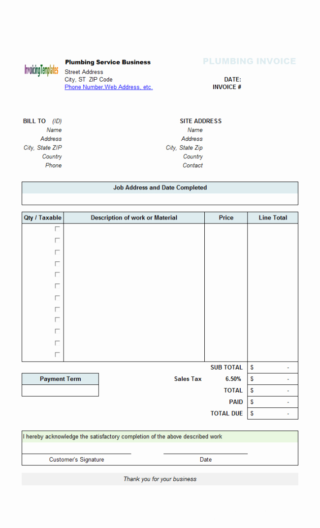 Invoice Template with Logo Fresh Perfect Sample Of Plumbing Service Billing Invoice form