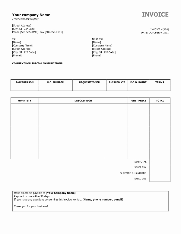 Invoice Template Word Download Free Awesome Free Invoice Templates for Word Excel Open Fice