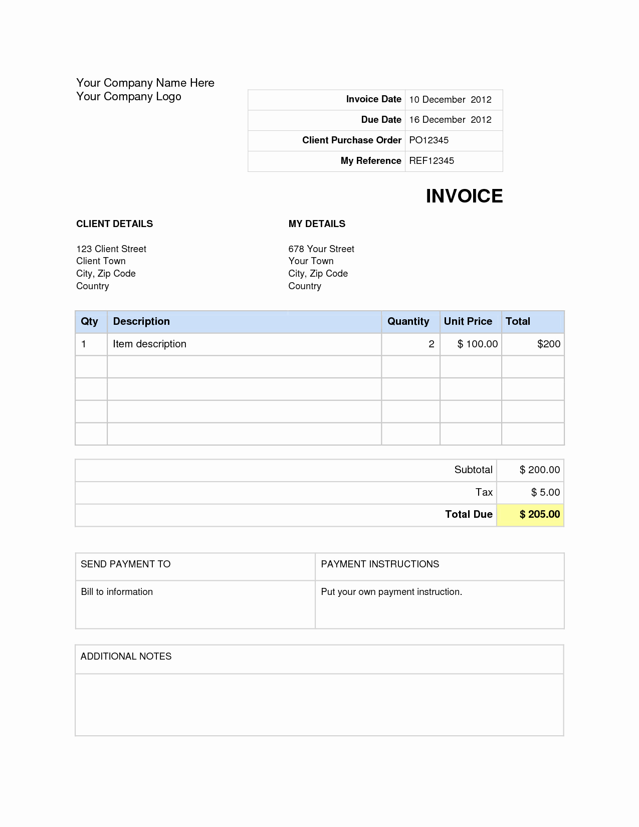 Invoice Template Word Download Free Beautiful Invoice Template Word Doc