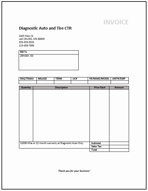 Invoice Template Word Download Free Elegant Mechanic Invoice Template – Free Invoice Templates
