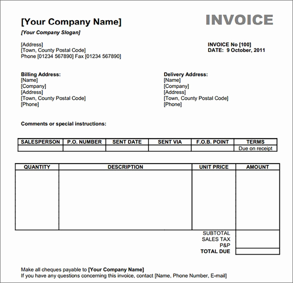 Invoice Template Word Download Free Lovely Free 47 Sample Blank Invoice Templates In Word