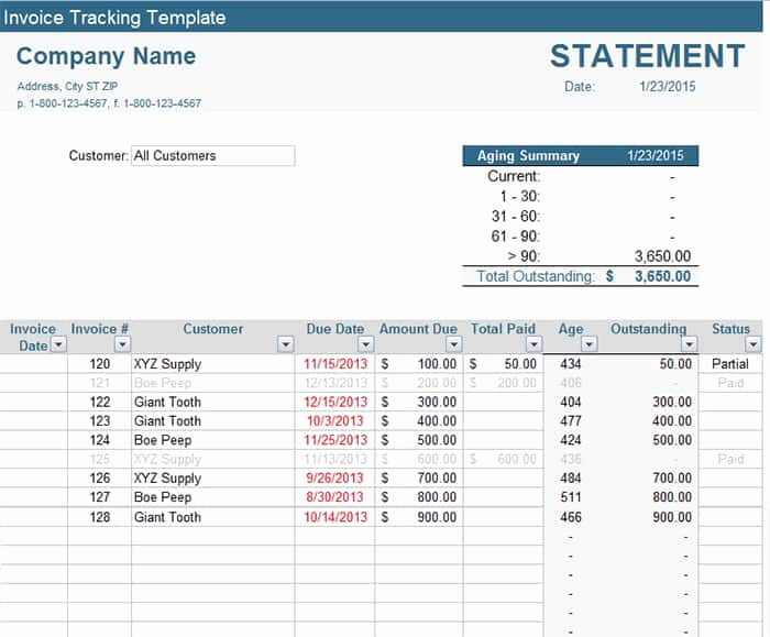 Invoice Tracking Template Excel Awesome Invoice Tracker Template Printable Word Excel Invoice