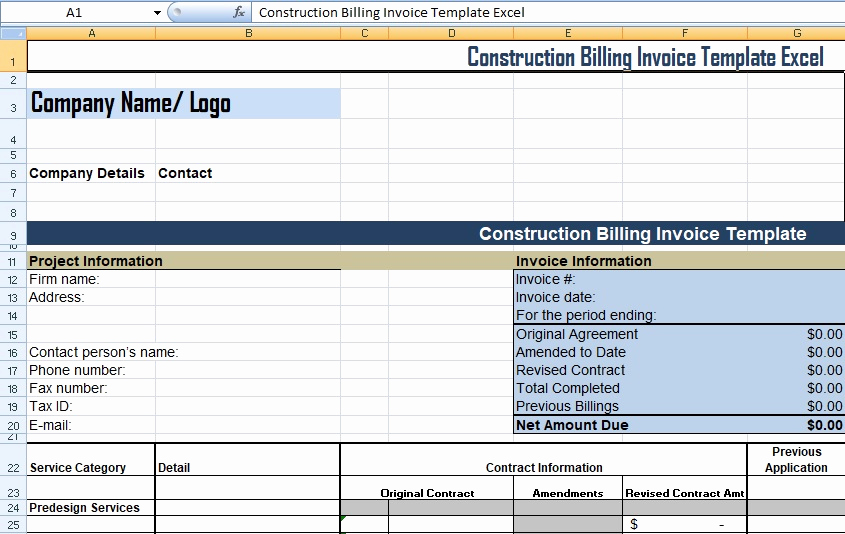 Invoice Tracking Template Excel Inspirational Get Construction Billing Invoice Template Excel Xls Free