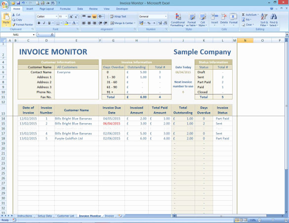 Invoice Tracking Template Excel Luxury 8 Invoice Tracking Templates – Free Sample Example