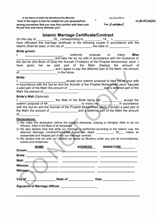 Islamic Marriage Certificate Template Awesome islamic Marriage Certificate Contract Printable Pdf