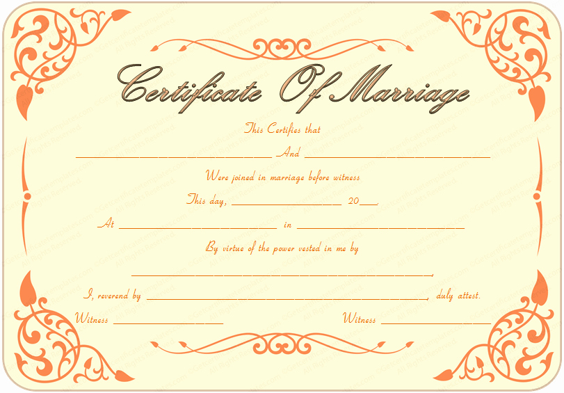 Islamic Marriage Certificate Template Awesome Marriage Certificate Template 22 Editable for Word