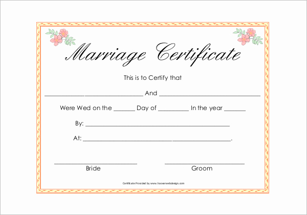 Islamic Marriage Certificate Template Beautiful 42 Free Marriage Certificate Templates Word Pdf Doc