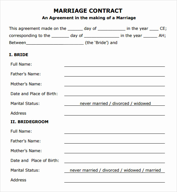 Islamic Marriage Certificate Template Beautiful Marriage Contract Template