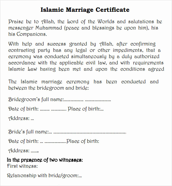 Islamic Marriage Certificate Template Elegant Marriage Contract 7 Free Pdf Doc Download