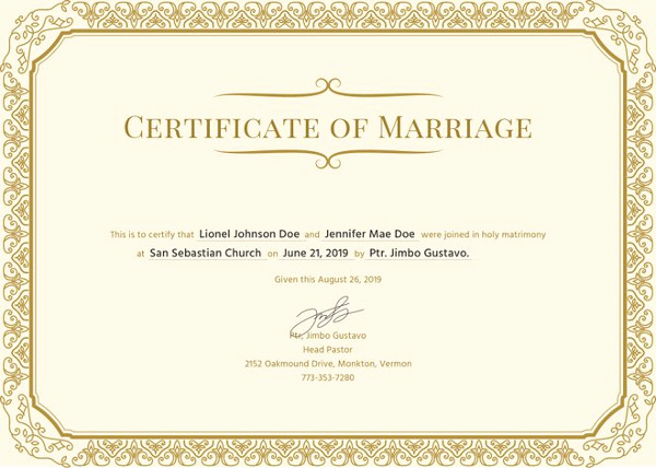 Islamic Marriage Certificate Template Inspirational Marriage Certificate Template 12 Word Pdf Psd format